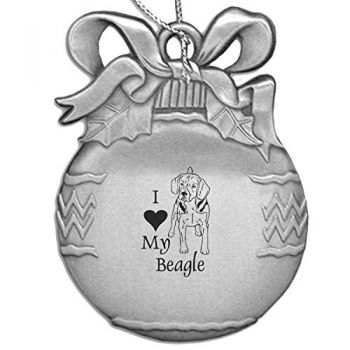 Pewter Christmas Bulb Ornament  - I Love My Beagle