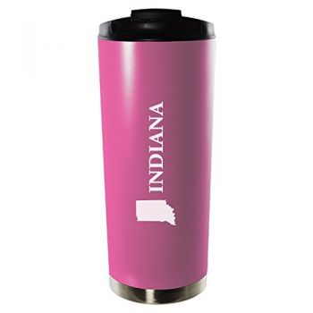 16 oz Vacuum Insulated Tumbler with Lid - Indiana State Outline - Indiana State Outline