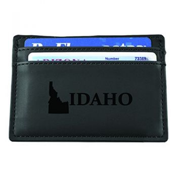 Idaho-State Outline-European Money Clip Wallet-Black