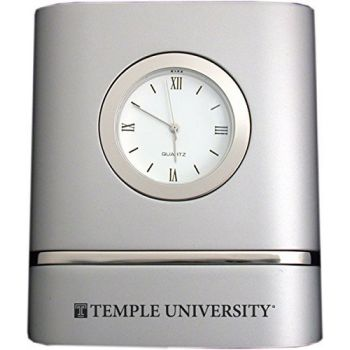 Temple University- Two-Toned Desk Clock -Silver