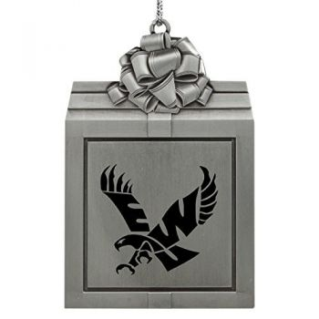 Eastern Washington University -Pewter Christmas Holiday Present Ornament-Silver