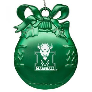 Marshall University - Pewter Christmas Tree Ornament - Green
