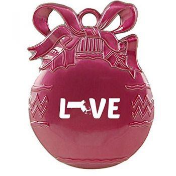 Massachusetts-State Outline-Love-Christmas Tree Ornament-Pink