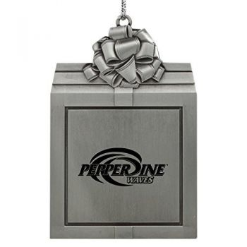 Pepperdine university -Pewter Christmas Holiday Present Ornament-Silver
