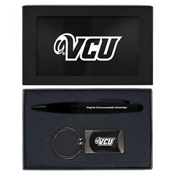 Virginia Commonwealth University-Executive Twist Action Ballpoint Pen Stylus and Gunmetal Key Tag Gift Set-Black