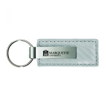 Marquette University-Carbon Fiber Leather and Metal Key Tag-White