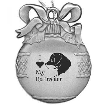 Pewter Christmas Bulb Ornament  - I Love My Rottweiler