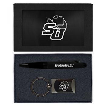 Stetson University -Executive Twist Action Ballpoint Pen Stylus and Gunmetal Key Tag Gift Set-Black