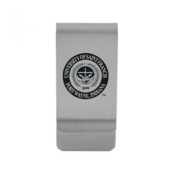 University of Saint Francis-Fort Wayne|Money Clip with Contemporary Metals Finish|Solid Brass|High Tension Clip to Securely Hold Cash, Cards and ID's|Gold