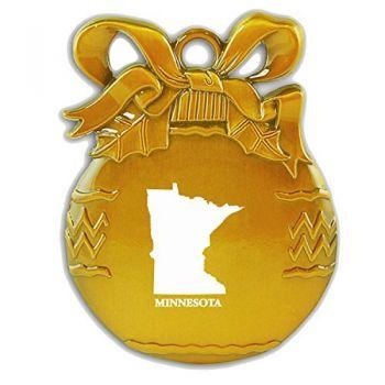 Pewter Christmas Bulb Ornament - Minnesota State Outline - Minnesota State Outline