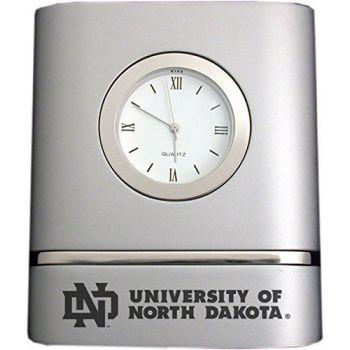 University of North Dakota- Two-Toned Desk Clock -Silver