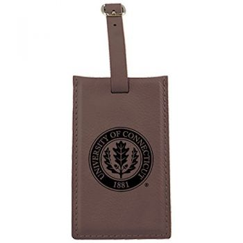 University of Connecticut-Leatherette Luggage Tag-Brown