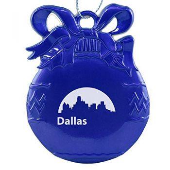 Pewter Christmas Bulb Ornament - Dallas City Skyline