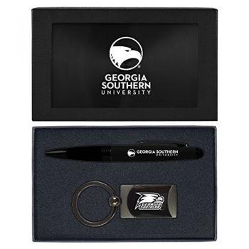 Georgia Southern University-Executive Twist Action Ballpoint Pen Stylus and Gunmetal Key Tag Gift Set-Black