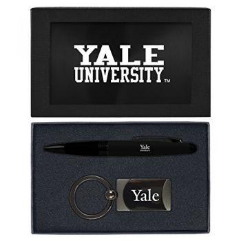 Yale University -Executive Twist Action Ballpoint Pen Stylus and Gunmetal Key Tag Gift Set-Black