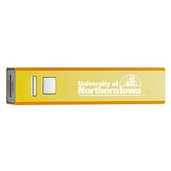 University of Northern Iowa - Portable Cell Phone 2600 mAh Power Bank Charger - Gold