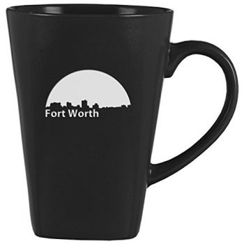 14 oz Square Ceramic Coffee Mug - Fort Worth City Skyline