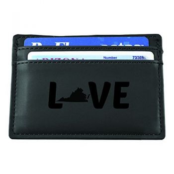 Virginia-State Outline-Love-European Money Clip Wallet-Black