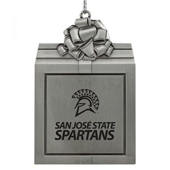 San Jose State University -Pewter Christmas Holiday Present Ornament-Silver