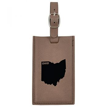 Ohio-State Outline-Leatherette Luggage Tag -Brown
