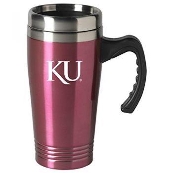 The University of Kansas-16 oz. Stainless Steel Mug-Pink
