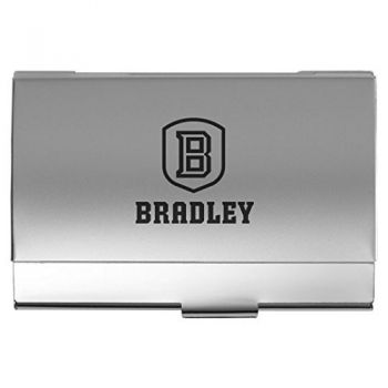 Bradley University - Two-Tone Business Card Holder - Silver
