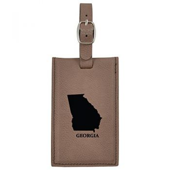Georgia-State Outline-Leatherette Luggage Tag -Brown
