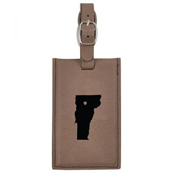 Vermont-State Outline-Heart-Leatherette Luggage Tag -Brown