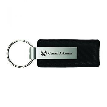 University of Central Arkansas-Carbon Fiber Leather and Metal Key Tag-Black