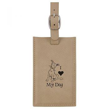 Leatherette Luggage Tag -I love my Dog-Tan