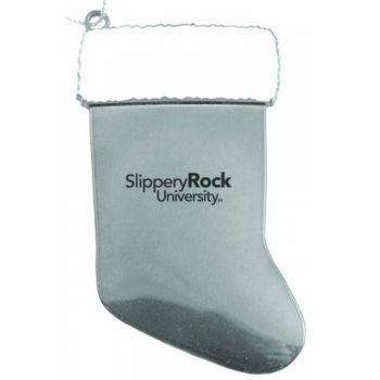 Slippery Rock University of Pennsylvania - Christmas Holiday Stocking Ornament - Silver