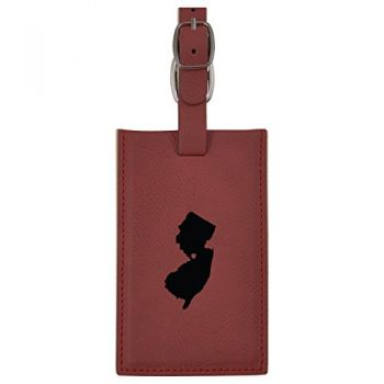 New Jersey-State Outline-Heart-Leatherette Luggage Tag -Burgundy