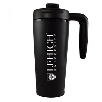 Lehigh University-16 oz. Travel Mug Tumbler with Handle-Black