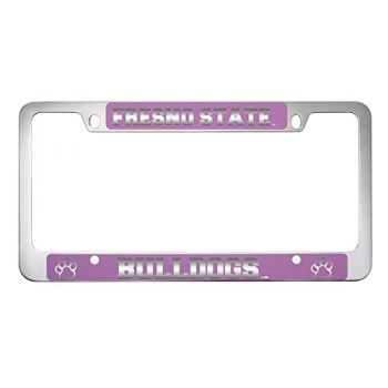 Fresno State -Metal License Plate Frame-Pink