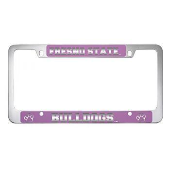 Fresno State -Metal License Plate Frame-Pink