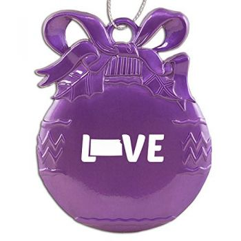 Kansas-State Outline-Love-Christmas Tree Ornament-Purple