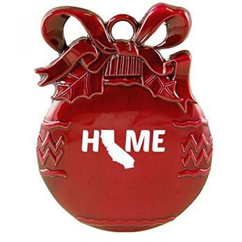 California-State Outline-Home-Christmas Tree Ornament-Red