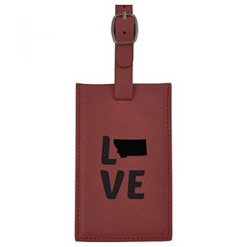 Montana-State Outline-Love-Leatherette Luggage Tag -Burgundy