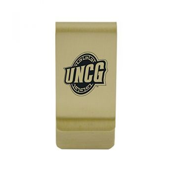 University of North Carolina at Charlotte|Money Clip with Contemporary Metals Finish|Solid Brass|High Tension Clip to Securely Hold Cash, Cards and ID's|Silver