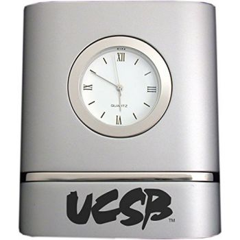 University of California, Santa Barbara- Two-Toned Desk Clock -Silver