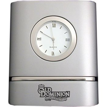 Old Dominion University- Two-Toned Desk Clock -Silver