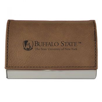 Velour Business Cardholder-Buffalo State University-The State University of New York-Brown