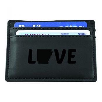 Arkansas-State Outline-Love-European Money Clip Wallet-Black