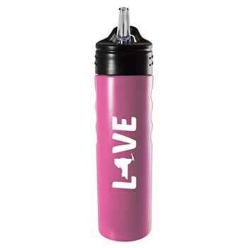 New York-State Outline-Love-Stainless Steel Grip Water Bottle with Straw-Pink