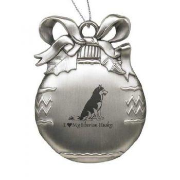 Pewter Christmas Bulb Ornament  - I Love My Siberian Huskie