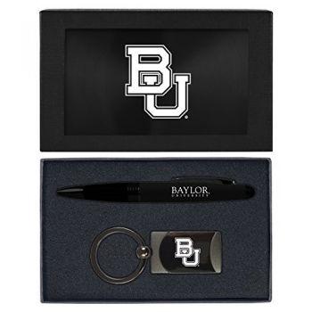 Baylor University -Executive Twist Action Ballpoint Pen Stylus and Gunmetal Key Tag Gift Set-Black