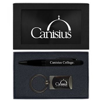 Canisus College -Executive Twist Action Ballpoint Pen Stylus and Gunmetal Key Tag Gift Set-Black