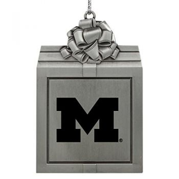 University of Michigan -Pewter Christmas Holiday Present Ornament-Silver