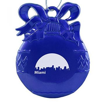 Pewter Christmas Bulb Ornament - Miami City Skyline