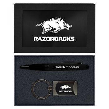 University of Arkansas-Executive Twist Action Ballpoint Pen Stylus and Gunmetal Key Tag Gift Set-Black
